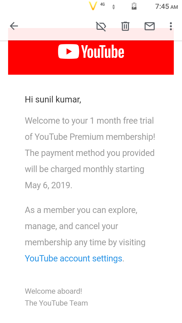 Youtube 1 month free